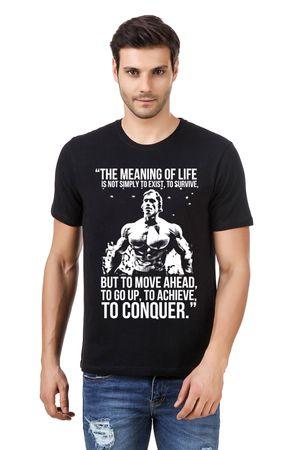 Round Neck Cotton Black Men's Half Sleeve Printed T shirt 258