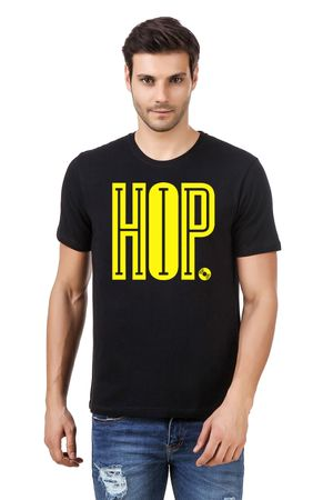 Round Neck Cotton Black Men's Half Sleeve Printed T shirt 121