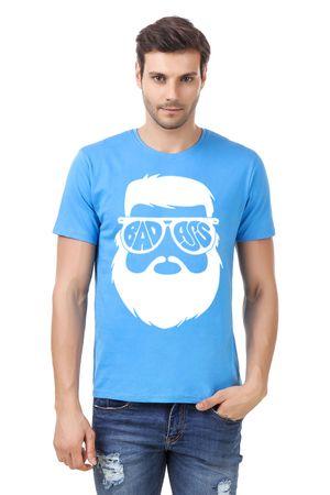 Round Neck Cotton Light Blue Men's Half Sleeve Printed T shirt 20