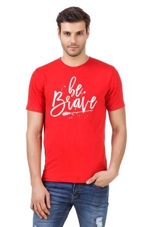Round Neck Cotton Orange Men's Half Sleeve Printed T shirt 29