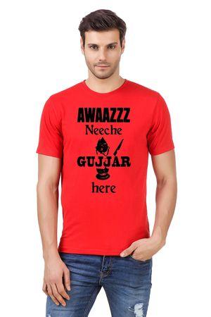 Round Neck Cotton Orange Men's Half Sleeve Printed T shirt 14