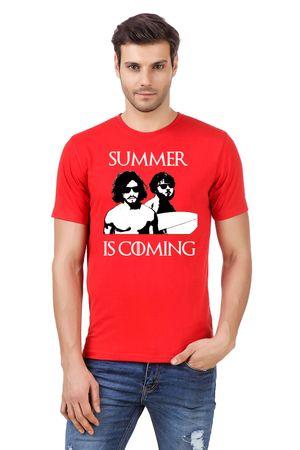 Round Neck Cotton Orange Men's Half Sleeve Printed T shirt 239