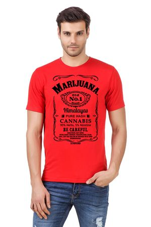 Round Neck Cotton Orange Men's Half Sleeve Printed T shirt 176