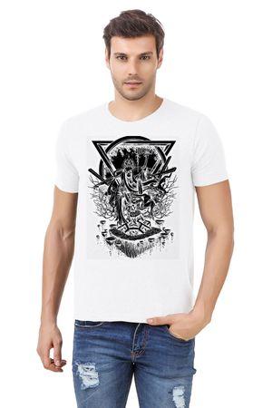 Round Neck Cotton White Men's Half Sleeve Printed T shirt 249