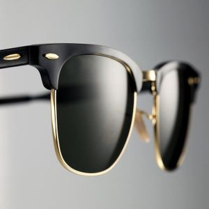 Sunglass Club Master Black Glass Golden Frame Sunglasses