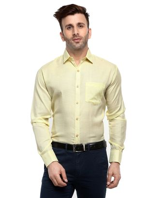Hangup formal mens solid shirts lemon color LMHU_Lemon_Formal_Shirt