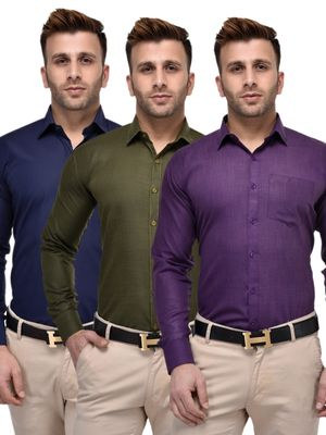 Lee marc Combo pack of 3 Men's Solid Formal Shirt