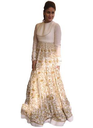 Kreckon Kareena Banglori Silk White Gown