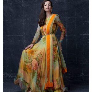 Perfect Multy Georgette Designer Floor Length Anarkali Suit