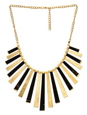 Fedexo Gold N Black Plated Statement Necklace For Women