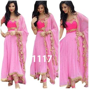 Pink Georgette Embroidered Dress