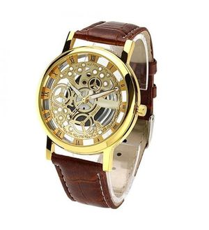 Transparent Dial Unisex Watch Brown Leather Belt