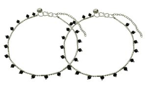 High Trendz Sizzling Silver With Black Beads Anklet For Women And Girls