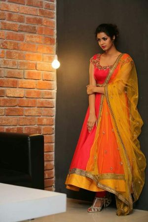 Edeal Online Orange And Yellow Banglori Silk Anarkali Dress