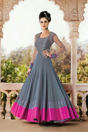 Edeal Online Grey And Pink Georgette Semi-Stiched Anarkali Dress