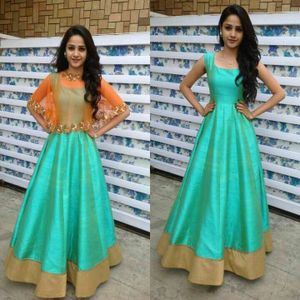 Edeal Online Sky Blue And Orenge Banglori Silk Semi-Stiched Anarkali Dress
