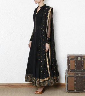 Edeal Online Black Georgette Semi-Stiched Anarkali Dress