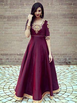 Edeal Online Designer pink Taffeta Silk Anarkali Dress