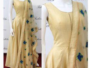 Edeal Online Designer Off White Banglory Silk Anarkali Dress