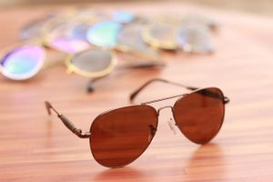 gold and brown stylish branded sunglasses 1073