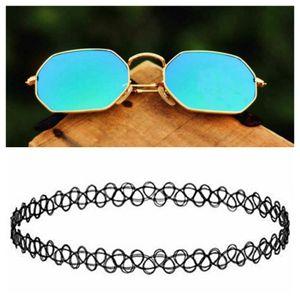 gold and sky blue stylish sunglasses 01430 free gift