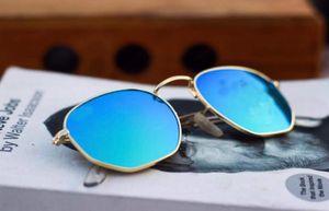 gold and sky blue stylish sunglasses 01433 free gift