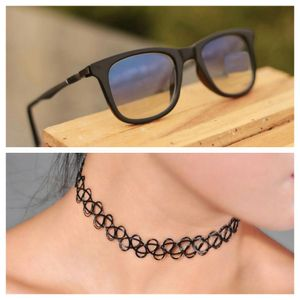 black and light blue stylish sunglasses 01466 free gift