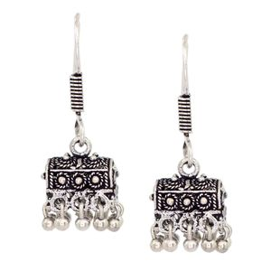 Antque Hut Shape Oxidized Silver Women Fashion Jhumka Jhumki Earrings