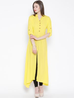 THE BEBO YELLOW CREPE LONG ELEGANT LONG KURTA WITH GOLDEN BUTTON