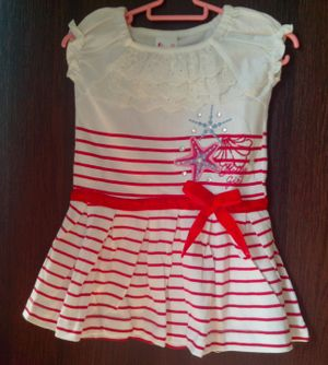 WHITE AND RED STRIPED COTTON FROCK BY YOUNGONES