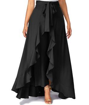 American-Elm Women's Black Solid Skirt