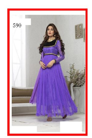 Forever Net Purple Semi Stitched Embroidered Dress Material_161