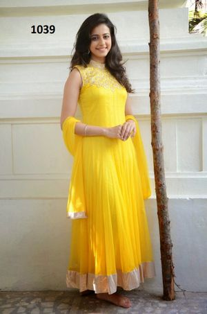 Forever Net Yellow Semi Stitched Embroidered Dress Material_003