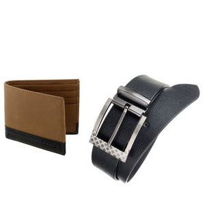 The Blue Pink Special Combo of 2 in1 Rich Pu Leather Wallet And Genuine Leather Belt (GAR02-DINO0801)