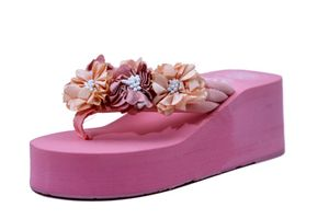 Hie'N'Buy New Flower Wedge Heel Slipper For Girls PINK