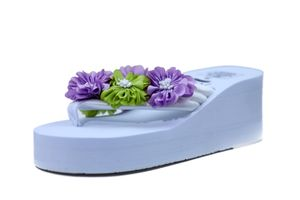 Hie'N'Buy New Flower Wedge Heel Slipper For Girls WHITE