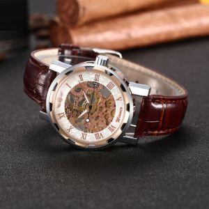 New Fancy Brown leather belt Open Men Wrist Watch