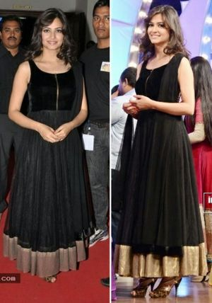 Kriti Kharbanda Net Lace Work Black Semi Stitched Bollywood Designer Suit