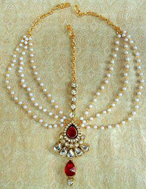Lalso Royal Wedding Jewelry Red Pearl Kundan Mathapatti Maang Tikka - Lmp03_rd