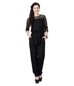 Fashion By Stylzin Black Rayon Jumpsuits