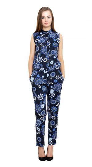 New Fashion Meee Life Style Women Kooo Navy Poly Crepe Jumpsuits