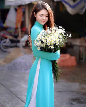 Sky Blue Chinese Neck Collar Long Top