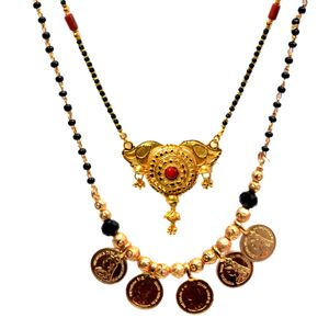 Mansiyaorange Combo Of One Gram Gold Party Casual Wedding wear two Different Shape Original Himalian Phaari Gold Look Fine Golden Glorious Long And And Coin Shape Short Mangalsutra