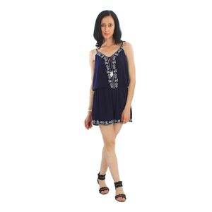 Good Fashion Embroidered Blue Short Jumpsuit