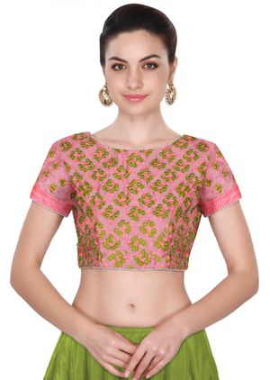 Fabron Short Sleeves Peach Color Thread Work Stitched Blouse For Women