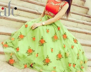 Greenvilla Designs Red And Green Banglori Silk Lehenga
