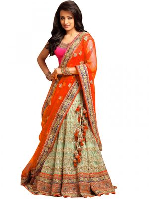 Greenvilla Designs Beige & Orange Net Party Wear Beautiful Lehenga KT-1537B