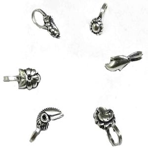 German Silver Nose Clips Set Of 6 Pieces   -->   NNP10