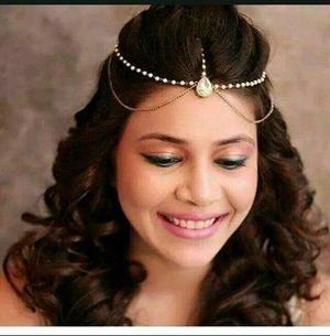 Wedding bridal Gold Plated Chain pearl Layer Kundan Stones headgear Headchain mangtika