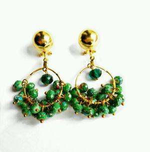 Mermaid Green & Gold Printed Earrings